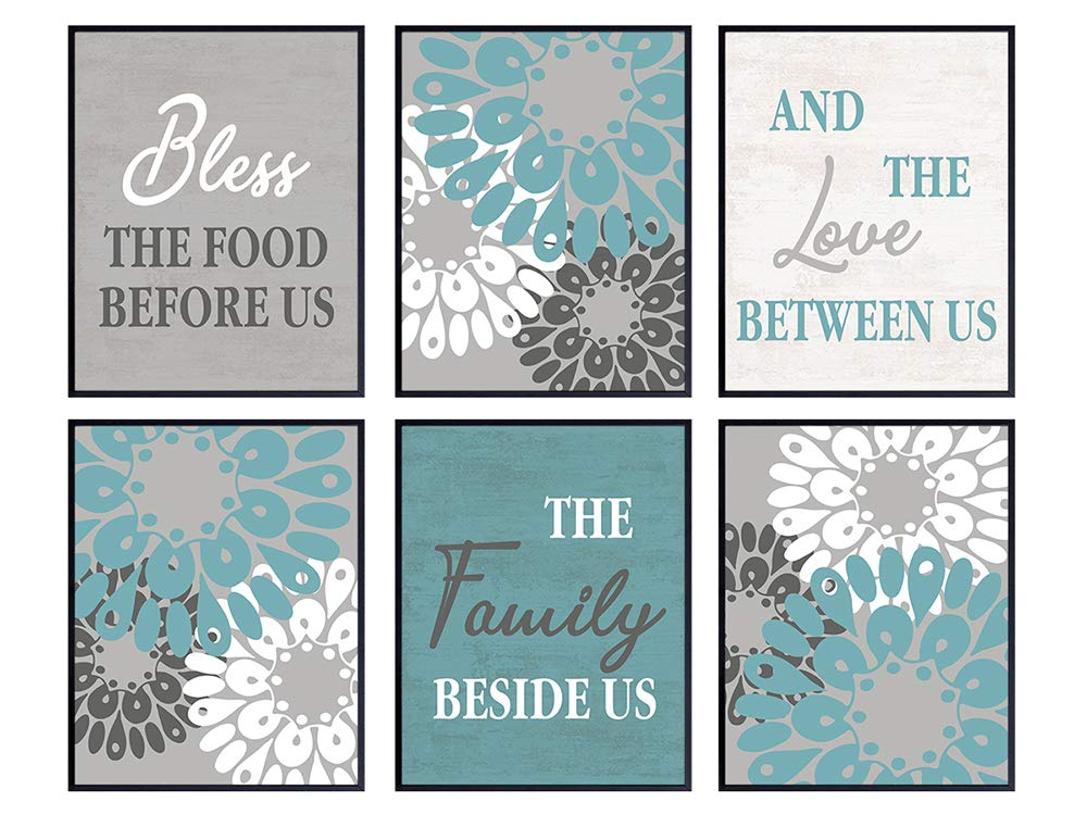 Dining Room, Kitchen Decor - Bless the Food Before Us Sign - Teal Blue Wall Art Set - Vintage Style Home Decor - Gift for Cooks and Chefs - Great Engagement, Anniversary or Birthday Gift for Women
