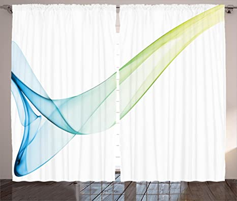 Ambesonne Abstract Curtains Cool Modern Colored Smoke Design With Water Color Touched Style Image Living Room Bedroom Window Drapes 2 Panel Set 108 X 63 Blue Green And Yellow Home