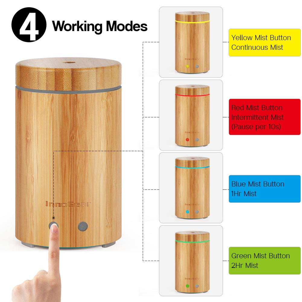 InnoGear Upgraded Real Bamboo Essential Oil Diffuser Ultrasonic Aroma Aromatherapy Diffusers Cool Mist Humidifier with Intermittent Continuous Mist 2 Working Modes Waterless Auto Off 7 Color LED Light by InnoGear (Image #3)