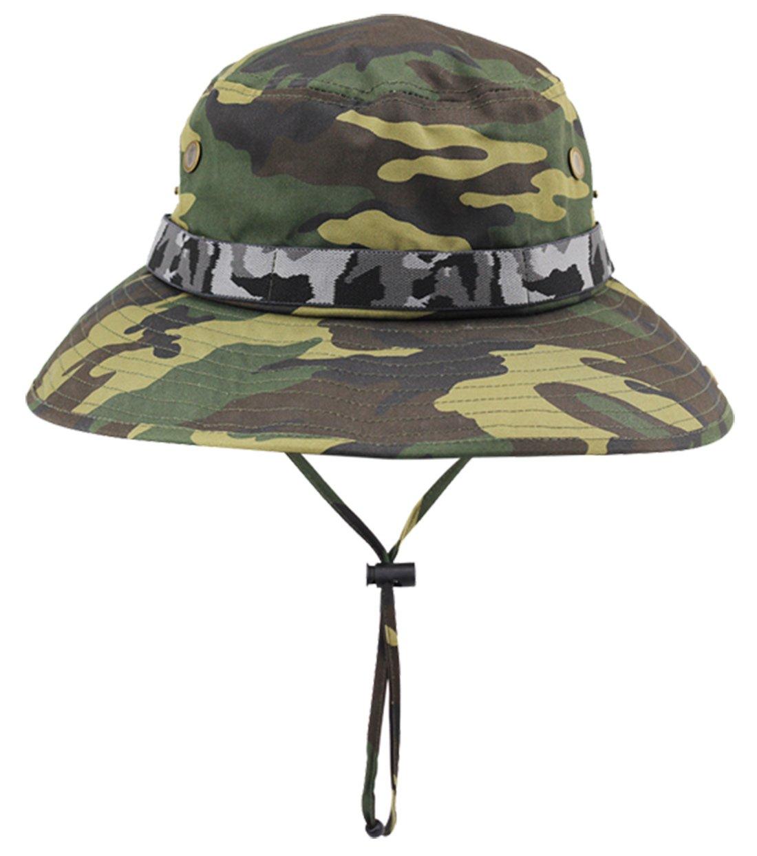 85ac996dcb815 Panegy Men Women Sun Hat Outdoor Waterproof Bucket Boonie Hat Wide Brim for  Travel Camping Hiking Fishing Hunting Boating Safari Cap Camouflage