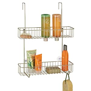 mDesign Extra Wide Metal Wire Over The Bathroom Shower Door Caddy, Hanging Storage Organizer Center with Built-in Hooks and Baskets on 2 Levels for Shampoo, Body Wash, Loofahs - Satin