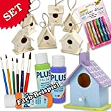 geburtstagsfee Bird House Craft Kit for Children with 6 Wooden Bird Houses, Paint Brush and Glitter Glue, Craft Blank for Girls & Boys – A Bright Activity Children's Birthday