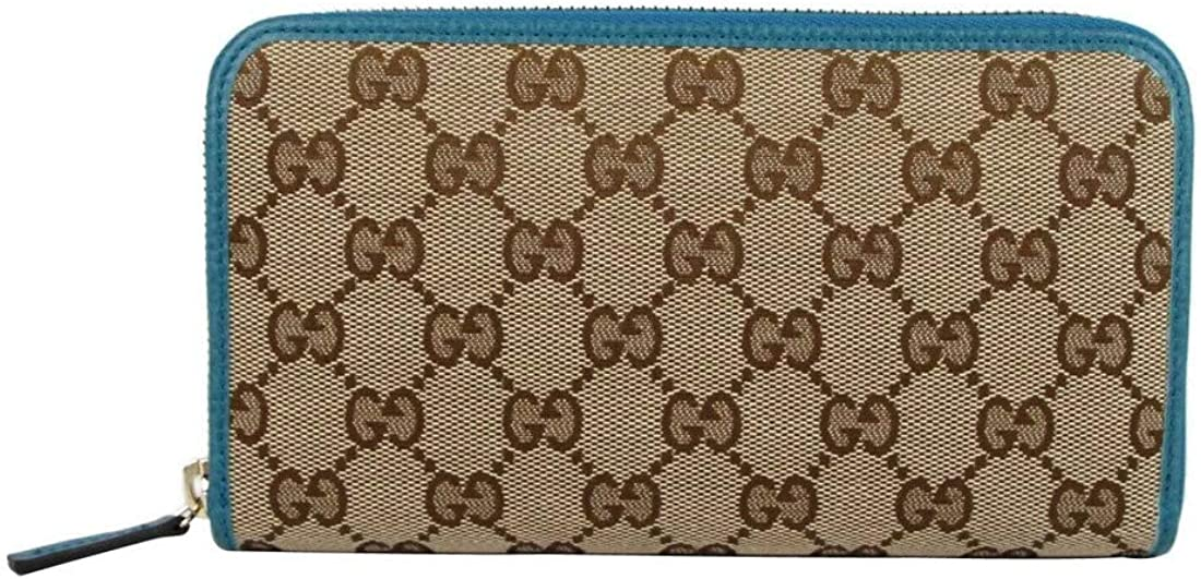 Gucci 120 Women's SMLG Beige Original GG Canvas With Leather Trim Zip Around Wallet 363423C 7614
