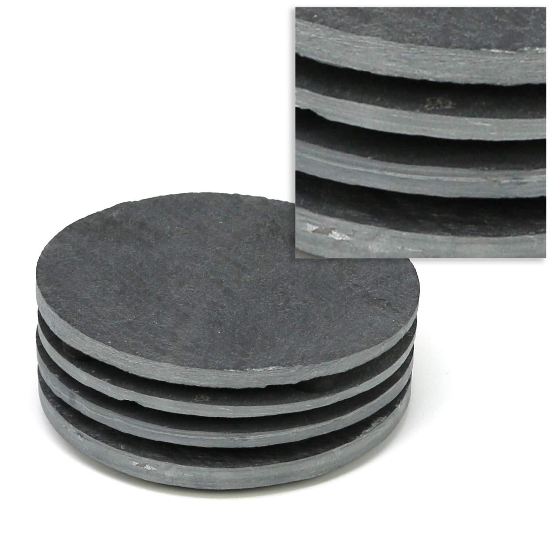 com-four® 8X Base de Pizarra Natural con pies de Goma Antideslizantes, Mesa Redonda, Ø 10 cm