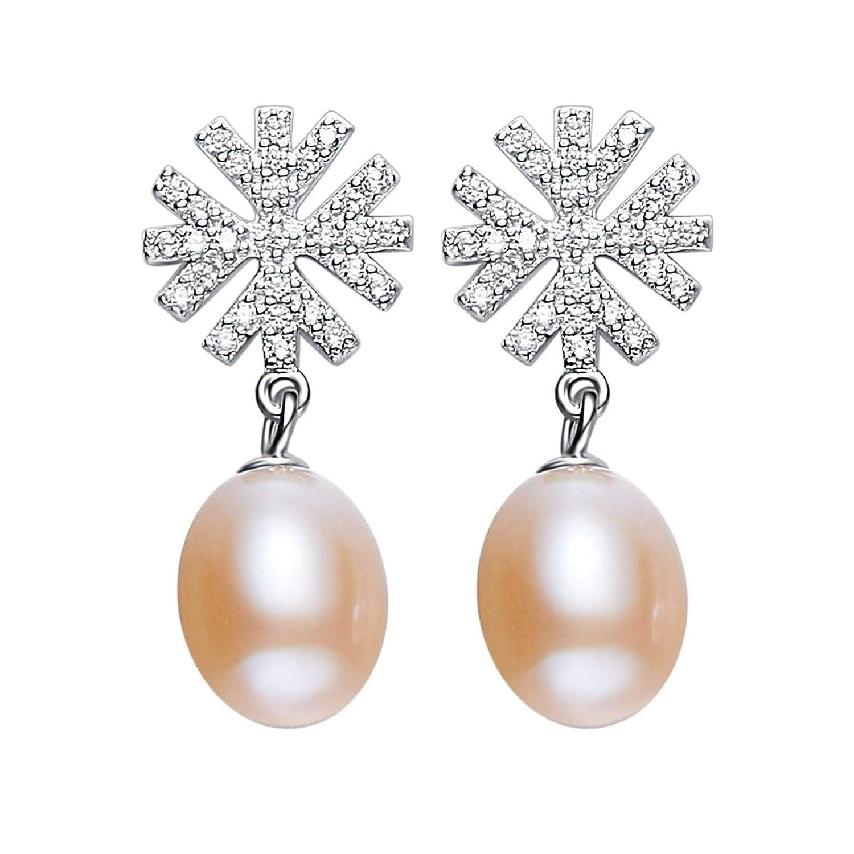 Silver Material Earrings Girls Women Snowflak Pearl Stud Earrings Anniversary
