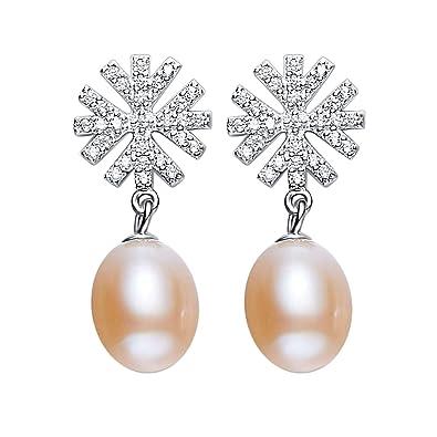 c17c439e905f Amody Los copos de nieve de plata de ley pendientes para mujer amarillo  perla pendientes  Amazon.es  Joyería