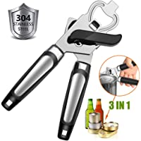 Can Opener Manual, GiniHomer Food-Safe Stainless Steel Bottle Opener, Good Grips Can Opener, Easy Turn Safety - Black €¦