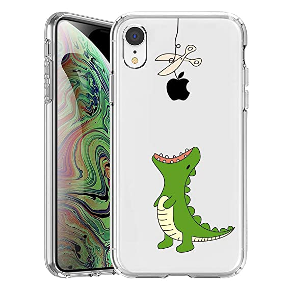 4592f00400abc GoldSwift Cute Cartoon Clear Case for iPhone XR with Tempered Glass Screen  Protector (Dinosaur)