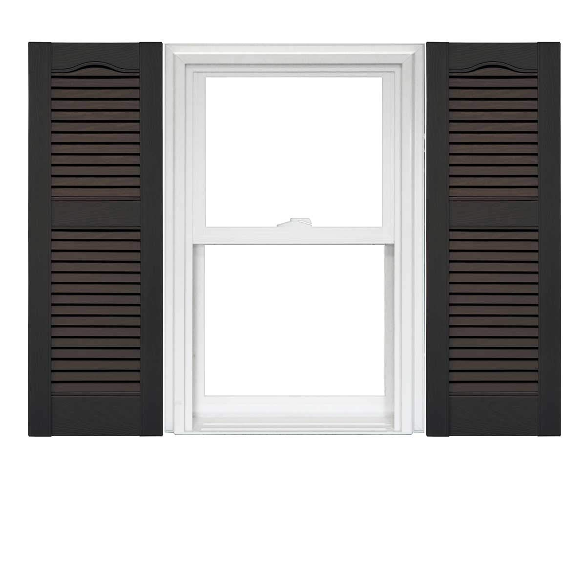 Mid America Cathedral Open Louver Vinyl Standard Shutter 1 Pair 12 x 60 010 Musket Brown