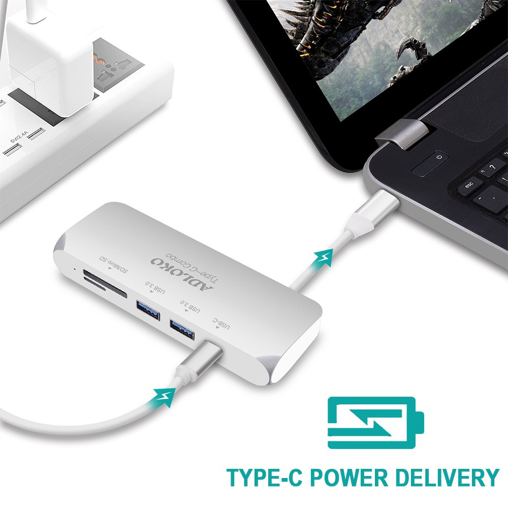 USB Type C Hub VGA, ADLOKO 6-IN-1 USB-C Adapter with VGA Port, USB-C Power Delivery, 2 USB 3.0 Port, SD/TF Card Reader for Macbook Pro 2017, Chromebook and More USB C Device by ADLOKO (Image #3)