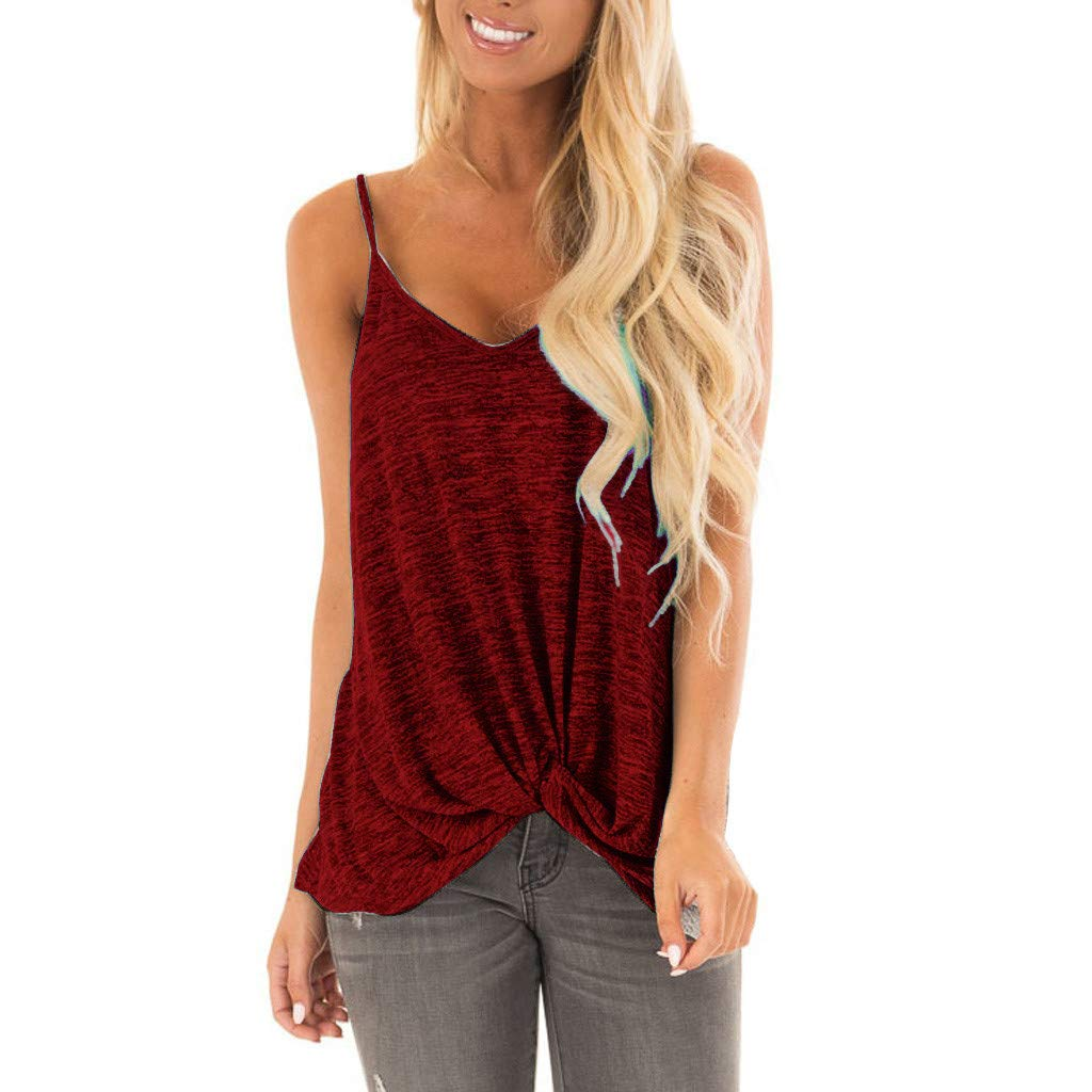 Womens Shirts VANSOON Teen Girls Sleeveless Knotted Tank Top Pure Casual Blouse Vest Shirts Red