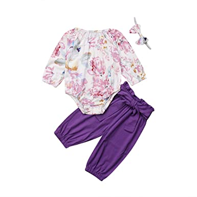 1cd6befcb524 Infant Girl Clothes Newborn Long Sleeve Floral Baby Romper Purple Pants  Headband 3pcs Set Outfit