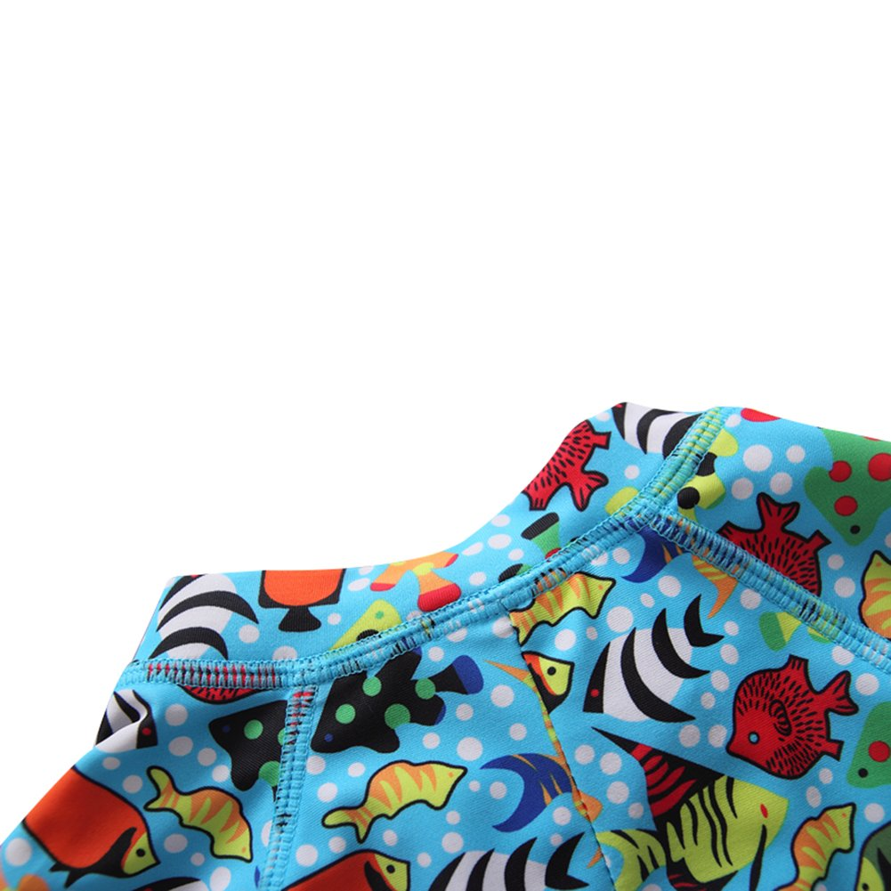 Toddler Baby Boy Girls One Piece Long Sleeve Swimsuit Kids Little Boys Zipper Rash Guard Sun Protection with Swimming Hat