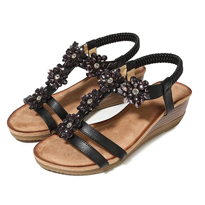 Wobuoke Womens Retro Round Head Wedges Flats Elastic Band Thick Bottom Sandals Slippers Sandals
