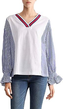 Camisa Mujer Manga Larga V-Cuello Rayas Empalme Blusas Camisas Moda Señoras Otoño Primavera Vintage Elegantes Casuales Mujeres Casual Camicia Bluse Tops: Amazon.es: Ropa y accesorios