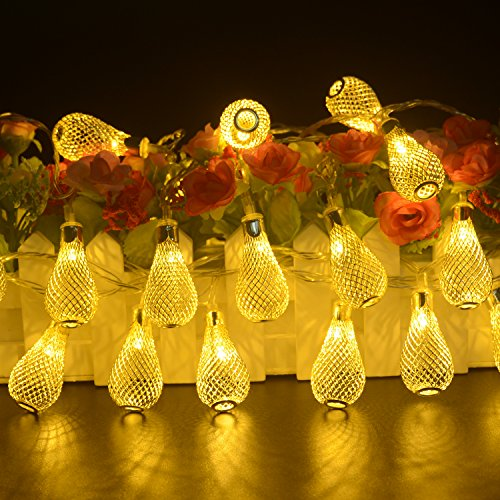 Electric Christmas Tree Lights (BlueFire Water Drop String Lights 31FT/9.5M with 50 LEDs Outdoor Strings Lights Christmas String Lights for Path Holiday Party Patio Lawn Christmas Xmas Tree (Warm White))