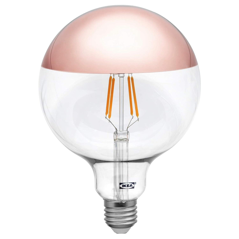 IKEA SILLBO Bombilla de filamento LED de 370 lúmenes, 125 mm, E27 con parte superior de espejo, color oro rosa: Amazon.es: Iluminación