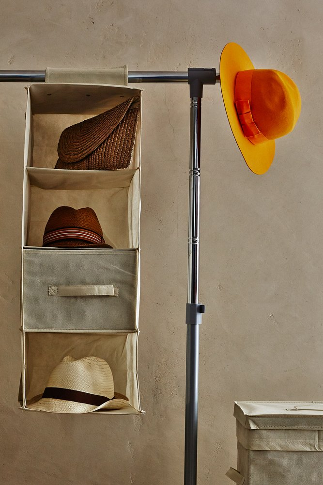 Perfetto Più - Easy Storage 4 Shelf Hanging Organiser, Fabric, Beige, 30x 30x 84cm