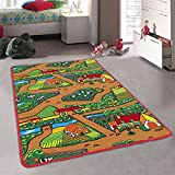 Fun Kid's Country Farm Life Mat Animal and Tractor Non-Slip Area Rug (3 Feet x 5 Feet)