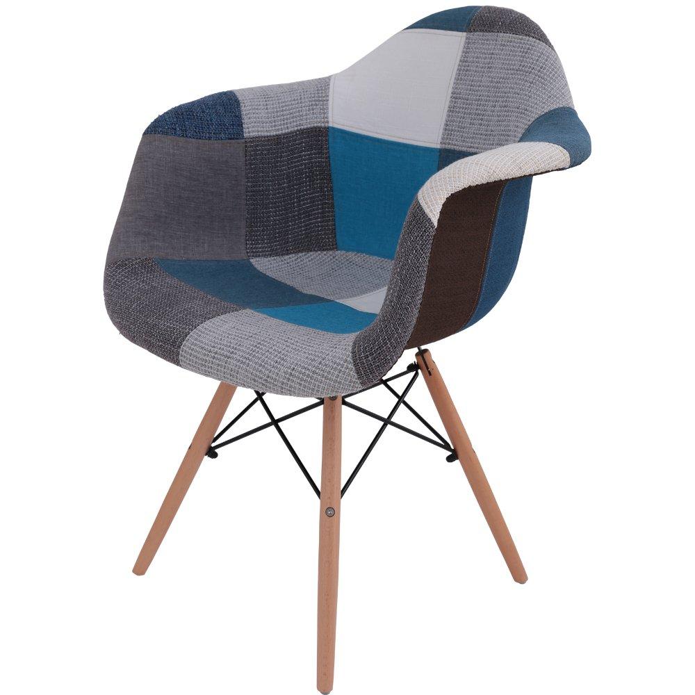 椅子 イームズチェア デザイナーズ リプロダクト パッチワークブルー DN1002D B01JFG6FZ8 ブルー ブルー