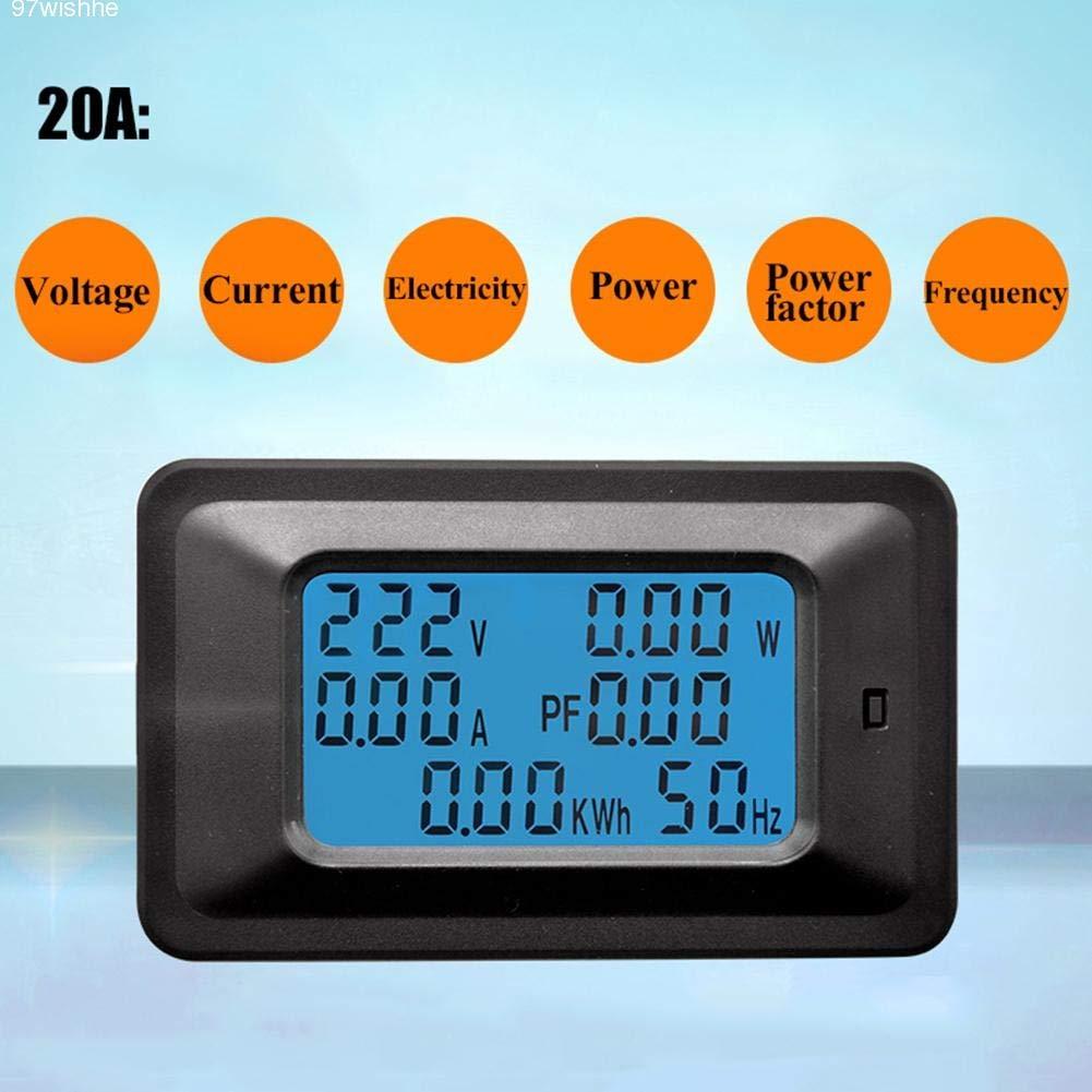 Hihey Volt/ímetro LCD Digital Medidor de Voltaje de energ/ía Medidor de energ/ía Multifunci/ón 20A Medidor de Voltaje de CA Digital