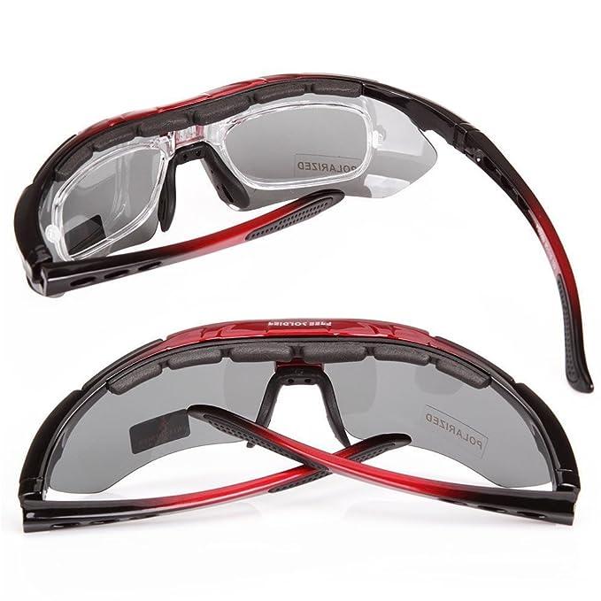 Ciclismo LVXING Wrap Running Outdoor Sports gafas de sol intercambiables 5 lentes Multi polarizadas UV400 incluidos: Amazon.es: Deportes y aire libre