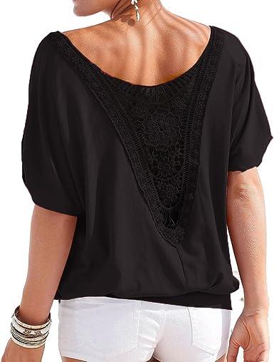 hibote Mujer Camiseta Oversize Encaje Camisa Mujer Blusa Manga Corta O Cuello Tops Elegante Camisetas de Corte Holgado Camisas de Color sólido: Amazon.es: Ropa y accesorios