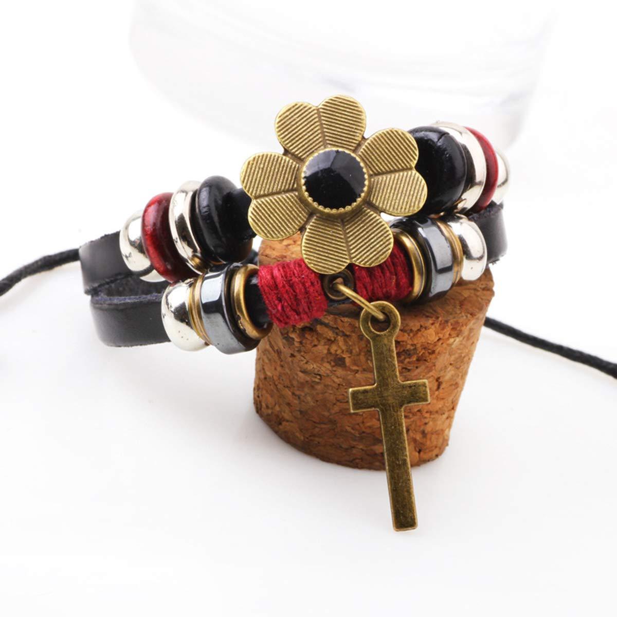 Helloriver Fashion Beaded Leather Rope Ladies Bracelet Vintage Flower Cross Multi-Layered Jewelry