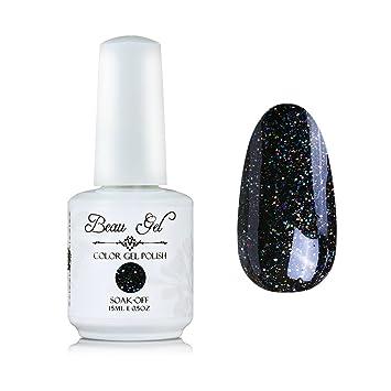 Amazon.com : Black Glitter Nail Polish Soak Off UV LED Professsional ...