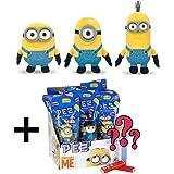 Despicable Me Minions Plush Buddies Gift Set - Minion Birthday Gifts - Minion Movie Exclusive 3-pack with Minion Stuart, Minion Bob and Minion Kevin Plus a Mystery Minion Pez Dispenser.
