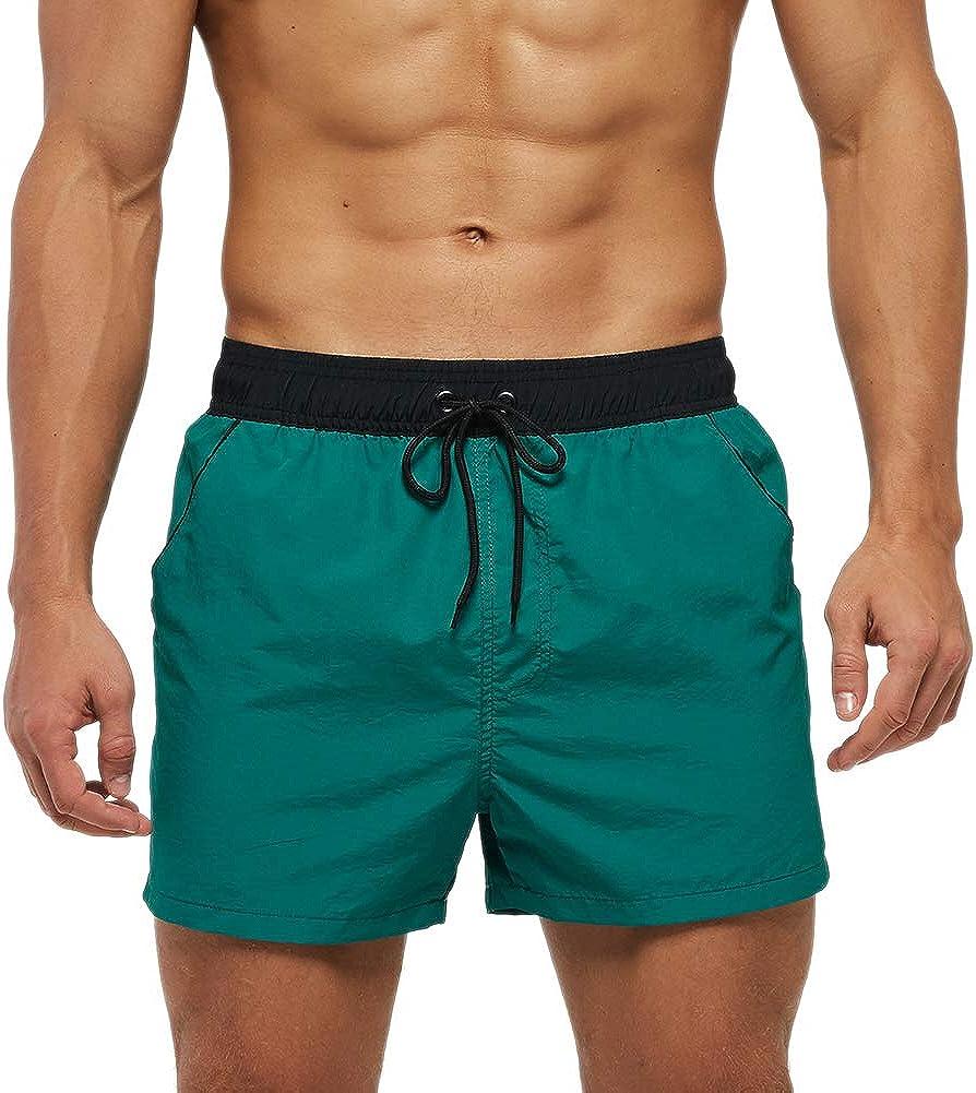SmartQian Short de bain pour homme avec doublure en maille filet et cordon de serrage r/églable
