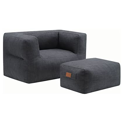 Peachy Amazon Com Coaster Lazy Life Bean Bag And Ottoman In Gray Pabps2019 Chair Design Images Pabps2019Com