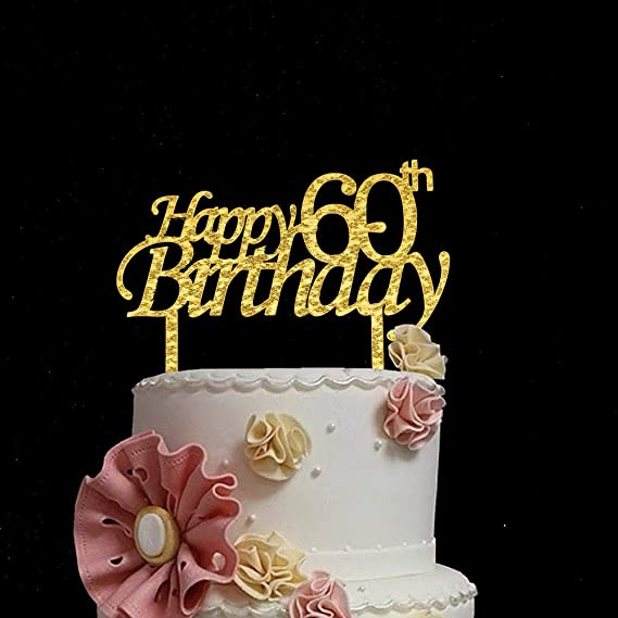 Awesome 60Th Birthday Party Cake Topper Gold Acrylic Bling Bling Birthday Personalised Birthday Cards Paralily Jamesorg