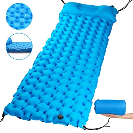 Hiker Era Camping Sleeping Pad 2.7 Thick Inflatable Sleeping Pad with Attached Pillow, Lightweight Sleeping Mat for Hiking, Backpacking Travel, Carry Bag with Repair Kit Included