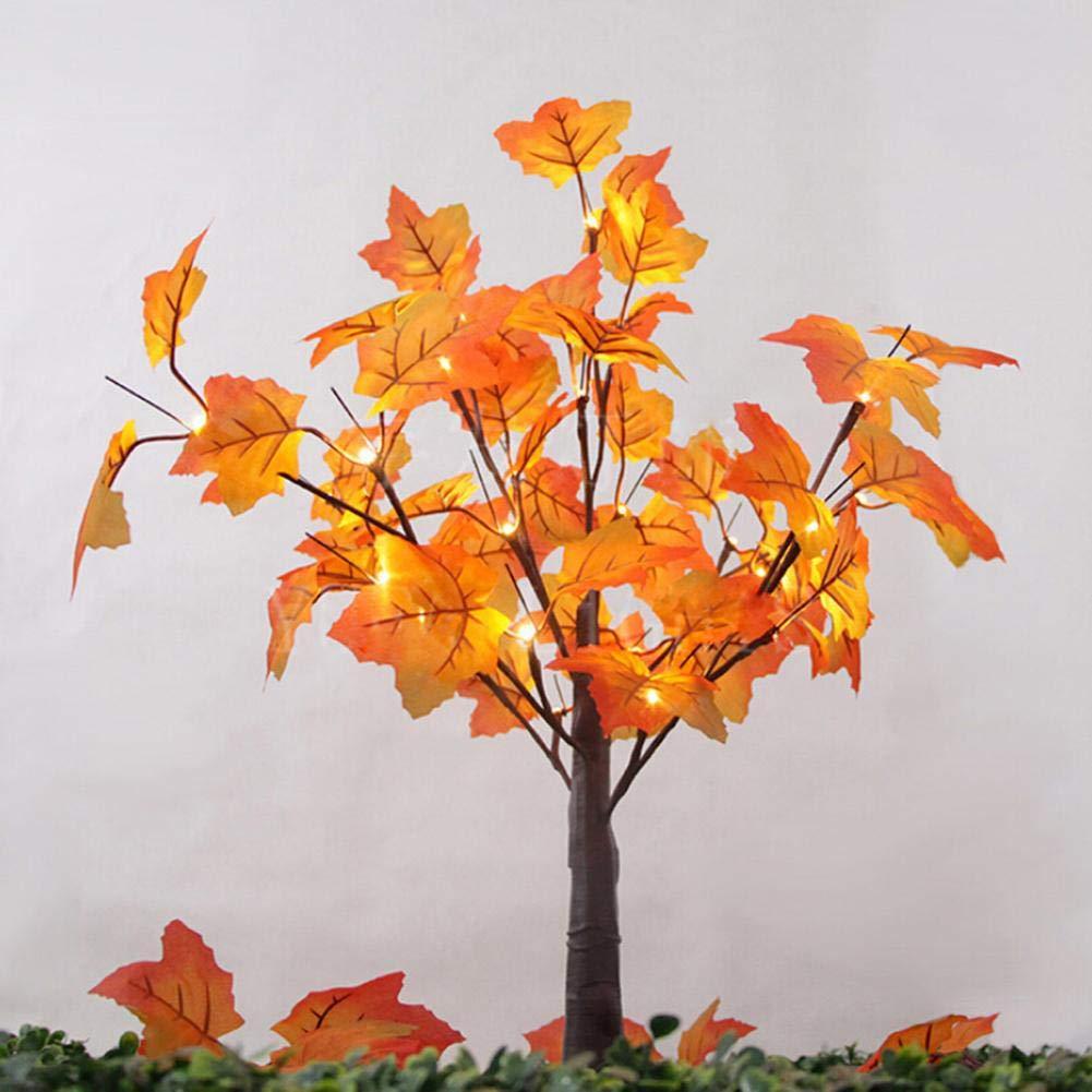 Paul03Daisy Beleuchtete Tabletop Fall Ahorn Baum Mit Warmen 24 LED-Leuchten Christmas Fall Dekor Für Xmas Halloween-Party, Festival, Haus, Haus, Thanksgiving-Dekorationen
