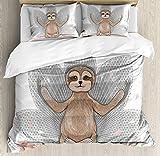 Sloth Bet Set 4pcs Bedding Sets Duvet Cover Flat Sheet No Comforter with Decorative Pillow Case Twin Size for Kid Teens-Little Cute Sloth Meditation Lotus Flower Yoga Asana Positions Motivational Fun