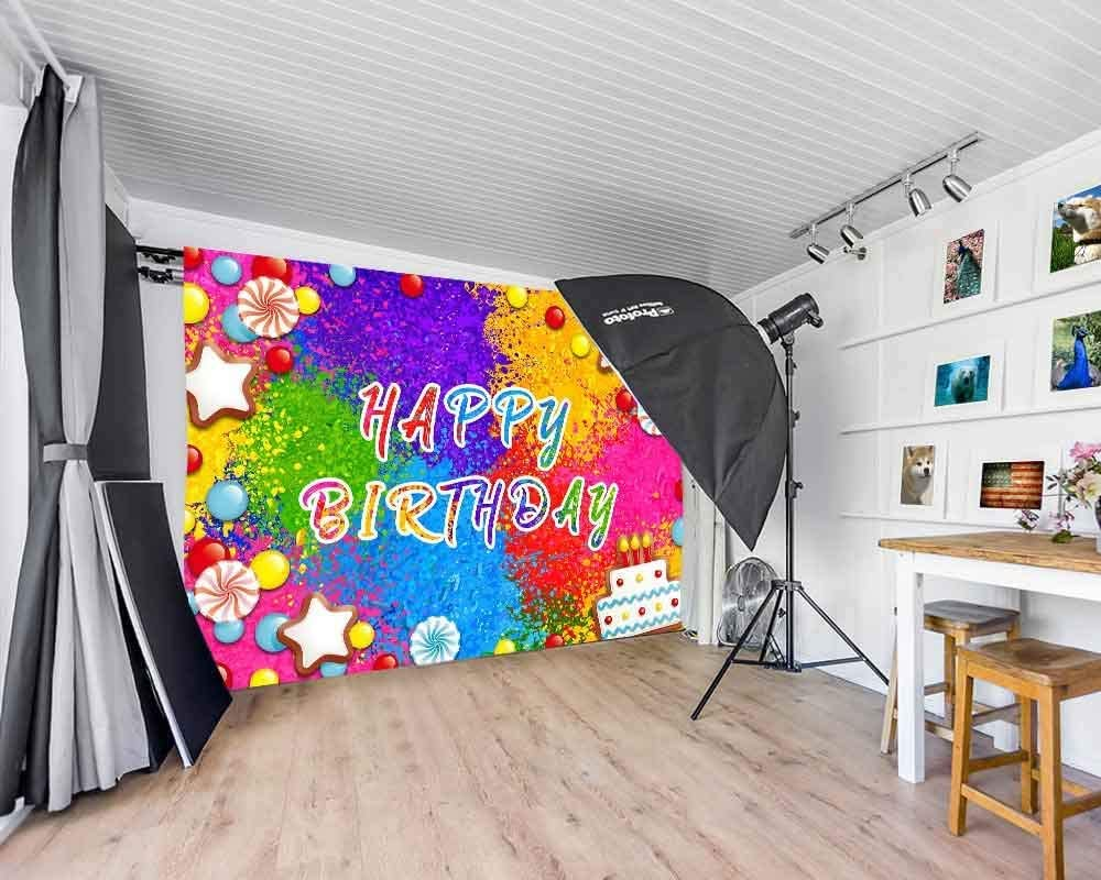 10x8ft Vinyl Happy Birthday Theme Background Colorful Candy Series for Baby Birthday Party Photography Props Baby Shower Banner Decoration Props LYLS855 for Party Decoration Birthday YouTube Videos Sc