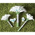Lily-Garden-Artificial-Wedding-Floral-Set-Turquoise-and-White-Calla-Lily-with-Silver-Ribbon-and-Bling-1-Dozen-Throw-Bouquet