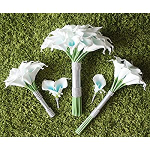 Lily Garden Artificial Wedding Floral Set Turquoise and White Calla Lily with Silver Ribbon and Bling (1 Dozen Throw Bouquet) 4