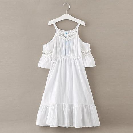 Vestidos de algodón y Lino de niñas Verano Ropa de niños Cintas Infantiles y Falda de Princesa,Blanco,140cm MM: Amazon.es: Deportes y aire libre