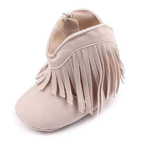 7fa3ad571 ESTAMICO Baby Girls  Cowboy Tassel Boots Beige US 6-12 Months