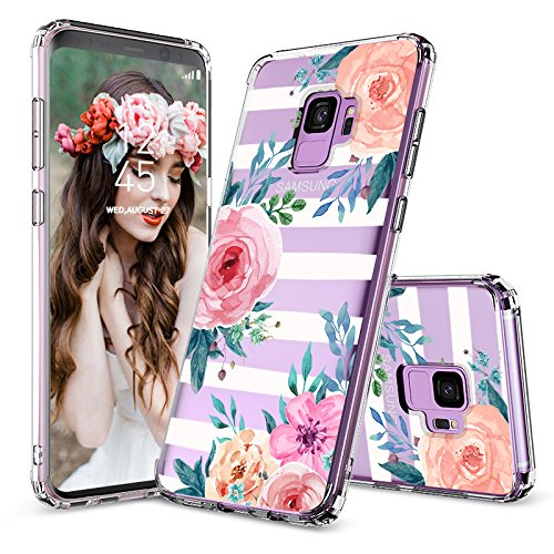 Galaxy S9 Case, Galaxy S9 Cover, MOSNOVO Girls Blossom Stripes Floral Flower Pattern Clear Design Transparent Hard Back Case with Soft TPU Bumper Protective Case Cover for Samsung Galaxy S9 (2018)