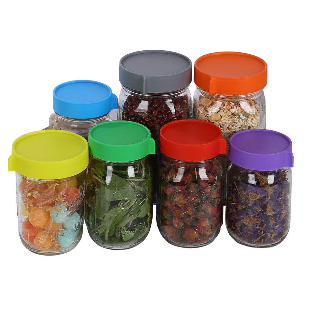 Reusable Plastic Storage Caps//Tops for Ball Jar Lids Pack of 14 Elwiya Leak Proof Plastic Mason Jar Lids for Wide Mouth /& Regular Mouth