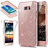 Galaxy S8 Case,ikasus [Full-Body 360 Coverage Protective] Crystal Clear 2in1 Sparkly Shiny Glitter Bling Front Back Full Coverage Soft Clear TPU Silicone Rubber Case for Samsung Galaxy S8,Rose Gold