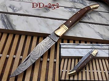Amazon.com: Laguiole acero de Damasco cuchillo plegable ...