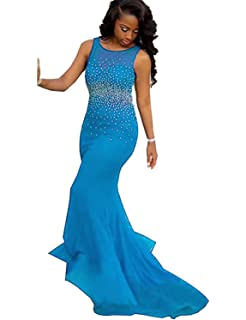 Mermaid Prom Dresses Beaded Backless Evening Gowns Long Formal Gala Women P122