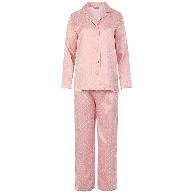 Womens Dot Revere cuello cómodo rosa satinado juego de PJ pijama PJ pijama de plata Ladies