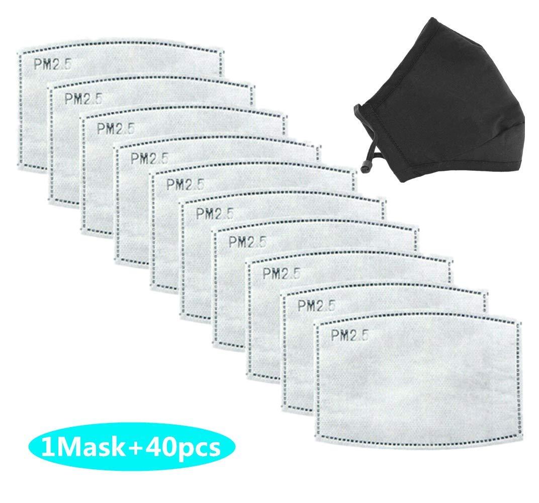 HAZUN 40pcs filtros de máscara reemplazables, máscaras de protección facial lavables, máscaras de protección respiratoria filtradas (Adultos)