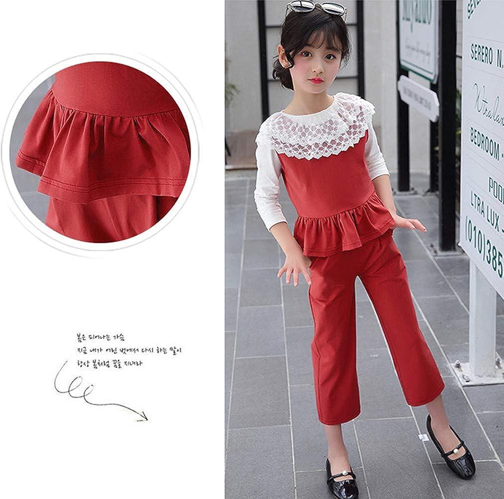 FTSUCQ Girls Lace Long Sleeve Faddish Shirt Top Trousers Vest