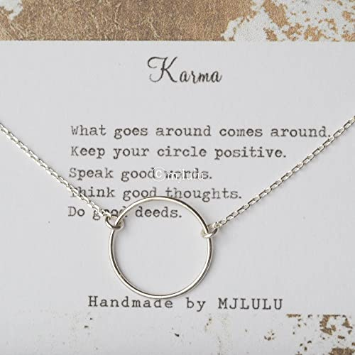 Simple Minimal Karma Circle Sterling Silver Necklace 15mm